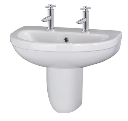 Ivo 550mm Basin 2TH & Semi Pedestal CIV005